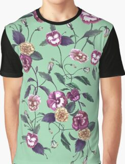 Pansy and Vines in Purple on Mint Graphic T-Shirt