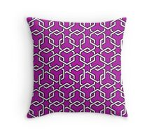 Magenta Interlocked Hexagon Chains Throw Pillow