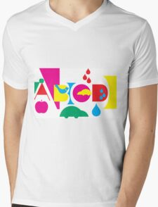 Graphic ABC Mens V-Neck T-Shirt