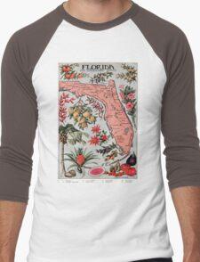 Vintage Map of Florida (1917) Men's Baseball ¾ T-Shirt