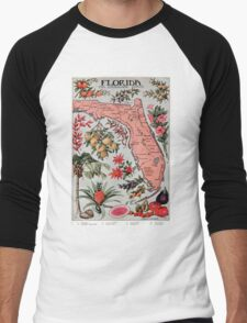 Vintage Map of Florida (1917) Men's Baseball ¾ T-Shirt