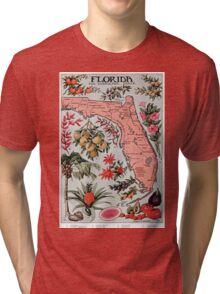 Vintage Map of Florida (1917) Tri-blend T-Shirt