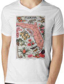 Vintage Map of Florida (1917) Mens V-Neck T-Shirt