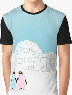 Pastel Penguins and Igloo Graphic T-Shirt