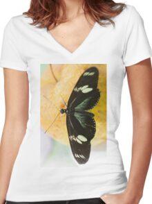 butterffly on fruit Women's Fitted V-Neck T-Shirt