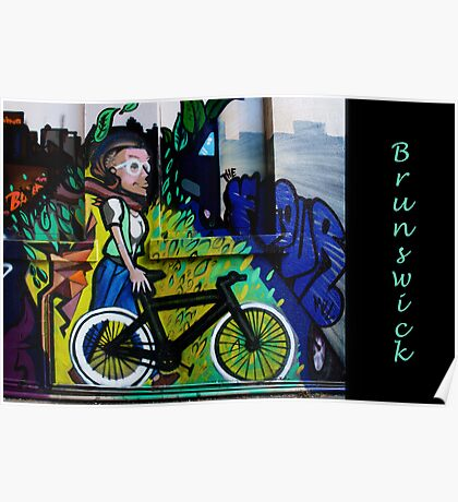 Images of Brunswick #6 Street Art - Woman on Bike Poster