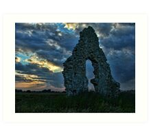 Midley Church Ruins at Sunset Art Print