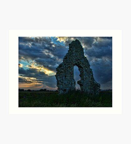 Midley Church Ruins at Sunset Art Print