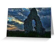 Midley Church Ruins at Sunset Greeting Card