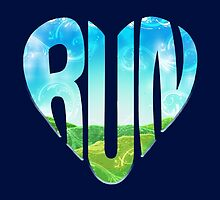 Run | Beautiful Typography Running Heart by BootsBoots