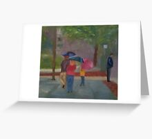 Family with Umbrellas Greeting Card