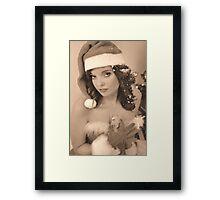 Vintage X-mas Pinup Style Framed Print