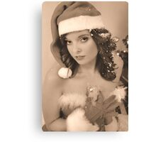 Vintage X-mas Pinup Style Canvas Print