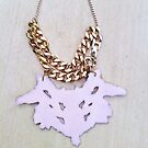 Pink-Gold rorschach necklace by Biana-B-Unique
