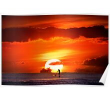 Sunset Paddler Poster