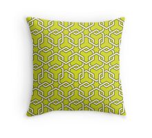 Chartreuse Interlocked Hexagon Chains Throw Pillow