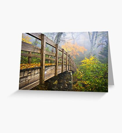 Tanawha Trail Foot Bridge - Rough Ridge Autumn Foliage NC Greeting Card