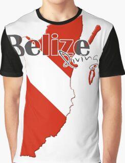 Belize Diving Diver Flag Map Graphic T-Shirt