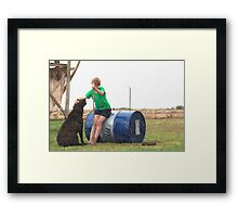 Hello Best Friend... Young boy with his labrador dog companion. Framed Print