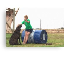 Hello Best Friend... Young boy with his labrador dog companion. Canvas Print
