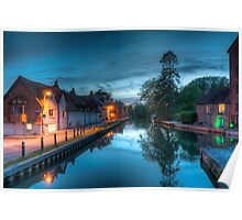 Newbury Canal at Night Poster