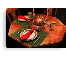 Quiet Christmas Table For Two Canvas Print