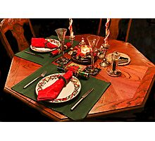 Quiet Christmas Table For Two Photographic Print