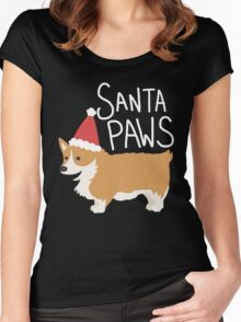 Holiday Corgi - Santa Paws - Puppy Women's Fitted Scoop T-Shirt