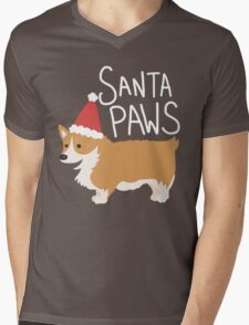 Holiday Corgi - Santa Paws - Puppy Mens V-Neck T-Shirt