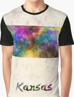 Kansas US state in watercolor Graphic T-Shirt