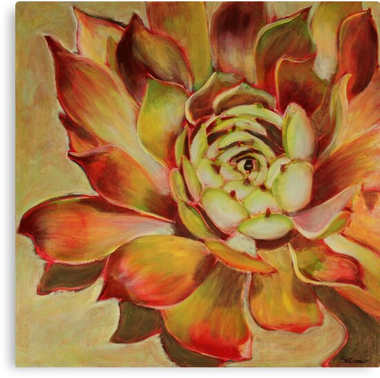 Hens and Chicks, mixed media on canvas by Sandrine Pelissier