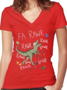 T-Rex Christmas Dinosaur - Dinosaur Christmas Women's Fitted V-Neck T-Shirt