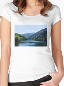 Summer Sunshine and a Gentle Breeze - Mountain Lake Impression Women's Fitted Scoop T-Shirt