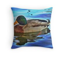 Male Mallard Duck Throw Pillow