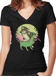 K-Rex & Pugosaurus Women's Fitted V-Neck T-Shirt