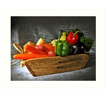 Vegetable Basket Sketch Art Print