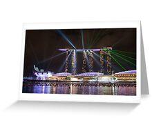 Lights work at Marina Bay Sand Resort (Singapore) Greeting Card