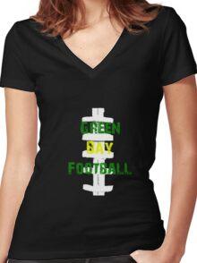 Green bay football Women's Fitted V-Neck T-Shirt