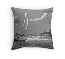 Moonlit Harbor Throw Pillow