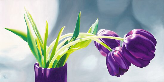 Purple Tulips I. - Oil painting by VargaZsuzsanna