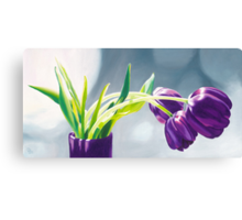 Purple Tulips I. - Oil painting Canvas Print