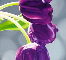 Purple Tulips II. - Oil painting by VargaZsuzsanna