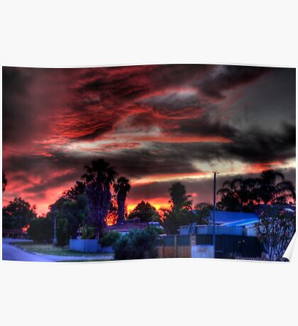 suburbia at sundown Poster