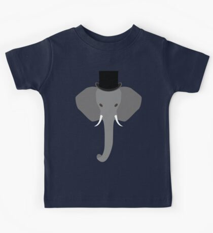 Elephant Wearing a Top Hat Kids Tee