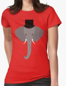 Elephant Wearing a Top Hat Womens Fitted T-Shirt