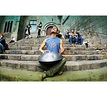 Musician Yogi playing Hang in Barcelona Photographic Print