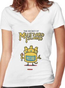 Look behind you, a three-headed mustard! Women's Fitted V-Neck T-Shirt