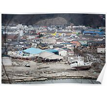 Ishinomaki, an Aerial View of a the destruction Poster