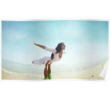 Acroyoga flying in the beach Poster