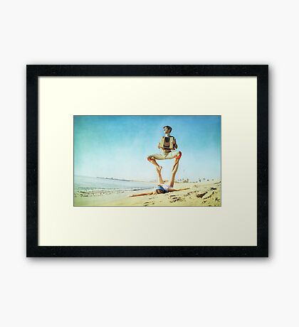 Acroyoga and music at the beach Framed Print
